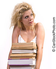 books woman - blond woman carrying heavy books,