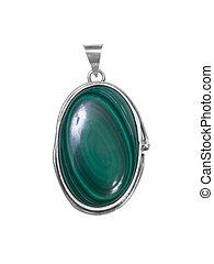 emerald pendant on white isolated background