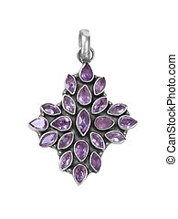 pendant3 - purple gem pendant on white isolated background