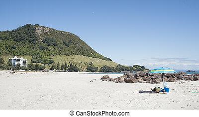 Beach setting.