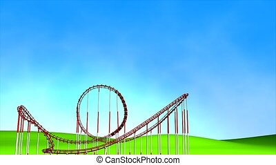 Roller coaster - Fun park roller coaster, matte included