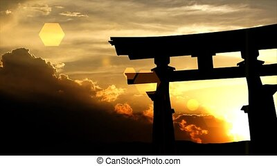 Japanese torii gate sunset - Japanese torii gate with...