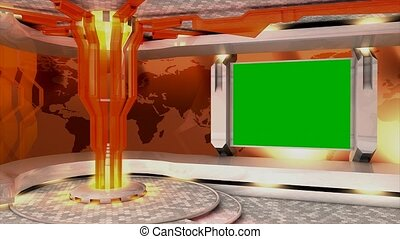 Virtual set 3 - Virtual set/studio. With chroma-key,...