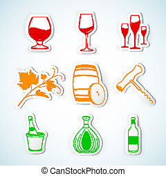 Paper Cut - Drink and Wine icons set. Vector illustration.