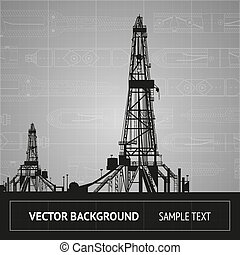 Sketch of oil rig over blueprint. Vector illustration.