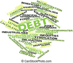 Word cloud for Debt - Abstract word cloud for Debt with...