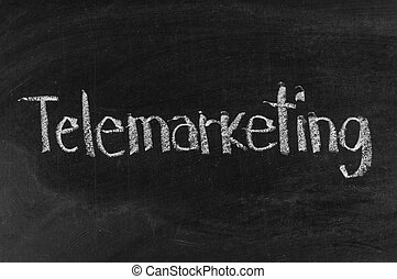 Chalk drawing -TELEMARKETING word written on chalkboard