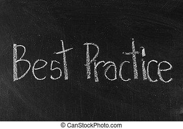 Best Practice written on blackboard background high...