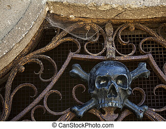 iron decoration of the church, the scull