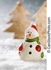 Christmas snowman in winter forest - Christmas snowman in...
