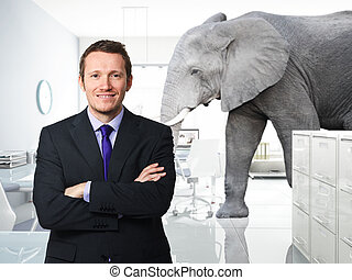 big problem in office - smiling man and elephant in modern...