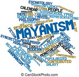 Mayanism - Abstract word cloud for Mayanism with related...