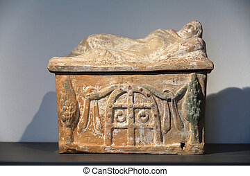 Ancient etruscan art. Painted terracotta cienrary urns....