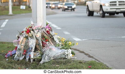 Traffic Passes By Roadside Memorial - Flowers at a busy...