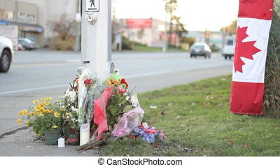 Marking RCMP Officer Death - A roadside memorial marks the...