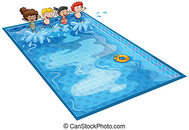 kids in swimming tank