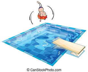 a boy and swimming pool - illustration of a boy and swimming...