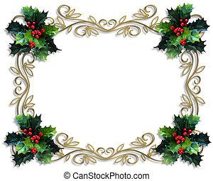 聖誕節, holly, 邊框