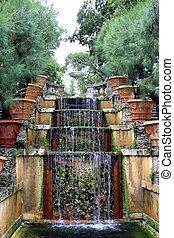 Water Stairway in the garden of Vizcaya Museum in Miami, FL