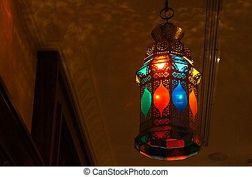 intérieur,  oriental,  scène, coloré, lanterne