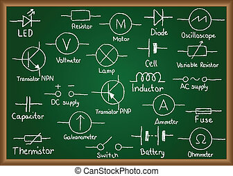 Electrical circuit symbols on chalkboard - Illustration of...