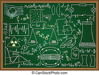 Physical doodles and equations on chalkboard - Illustration...