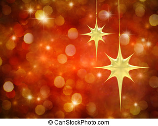 Christmas stars on red starry background