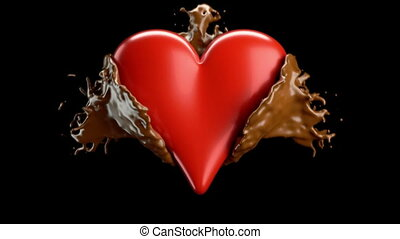 Red heart shape and hot chocolate splashes, slow motion....