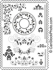 Frames and borders with flowers of
