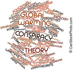 Global warming conspiracy theory - Abstract word cloud for...
