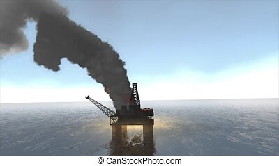 Oil rig fire - Animation, Offshore oil platform caught fire