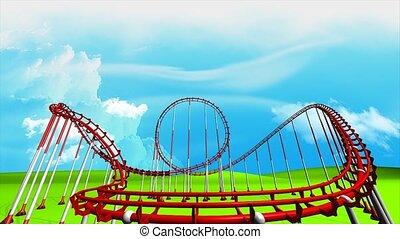 Roller coaster - Fun park roller coaster animation