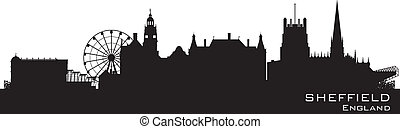 Sheffield, England skyline. Detailed vector silhouette