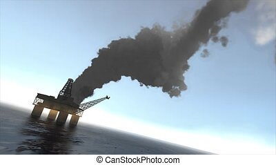 Oil rig fire - Animation, Offshore oil platform caught fire.