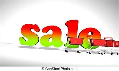 Sale cart concept animation.