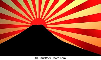 Sunburst effect - Silhouette fuji mountain with sunburst...