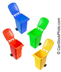 Miniature Garbage Bins on White Background