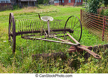 Rake hay in agriculture obsolete model