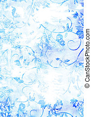 Abstract textured background: blue floral patterns on white backdrop