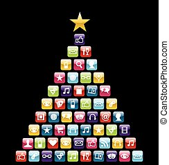 Multimedia icons Christmas Tree - Glossy Social and...