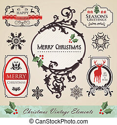 Vintage christmas elements set - Art noveau vintage...
