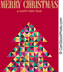 Retro mosaic Christmas pine tree - Vintage multicolored...