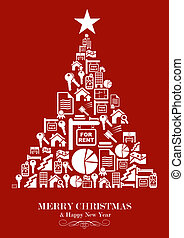 Real estate industry Christmas Tree - Real estate icon set...