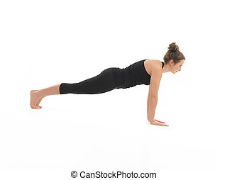 htha yoga posture demonstration - full side view of young...