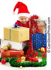Baby with christmas gifts - Santa helper baby with christmas...