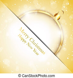 Vector - Merry Christmas Happy New Year Ball Golden with Stars and Snowflakes