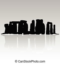 stonehenge silhouette vector in black