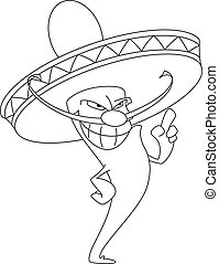 hot pepper smile outlined - illustration of a hot pepper...