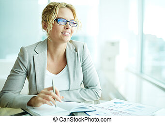 White collar worker - Portrait of smart businesswoman in...