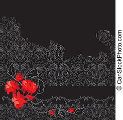 Celebration card with damask pattern and roses